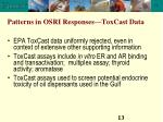 patterns in osri responses toxcast data