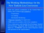 the working methodology for the new turkish lira conversion
