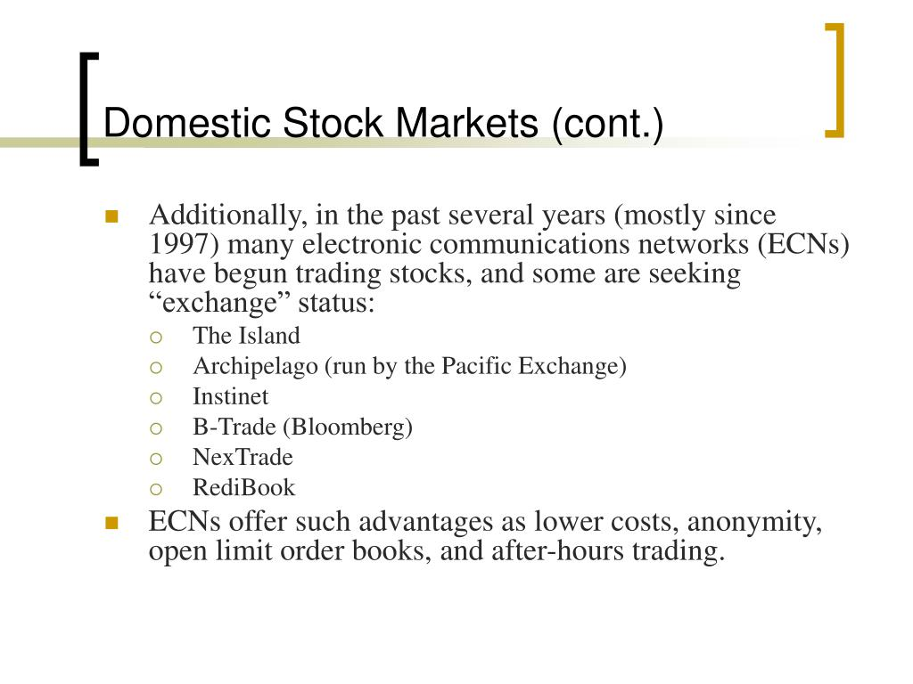 Domestic Stock Markets (cont.)