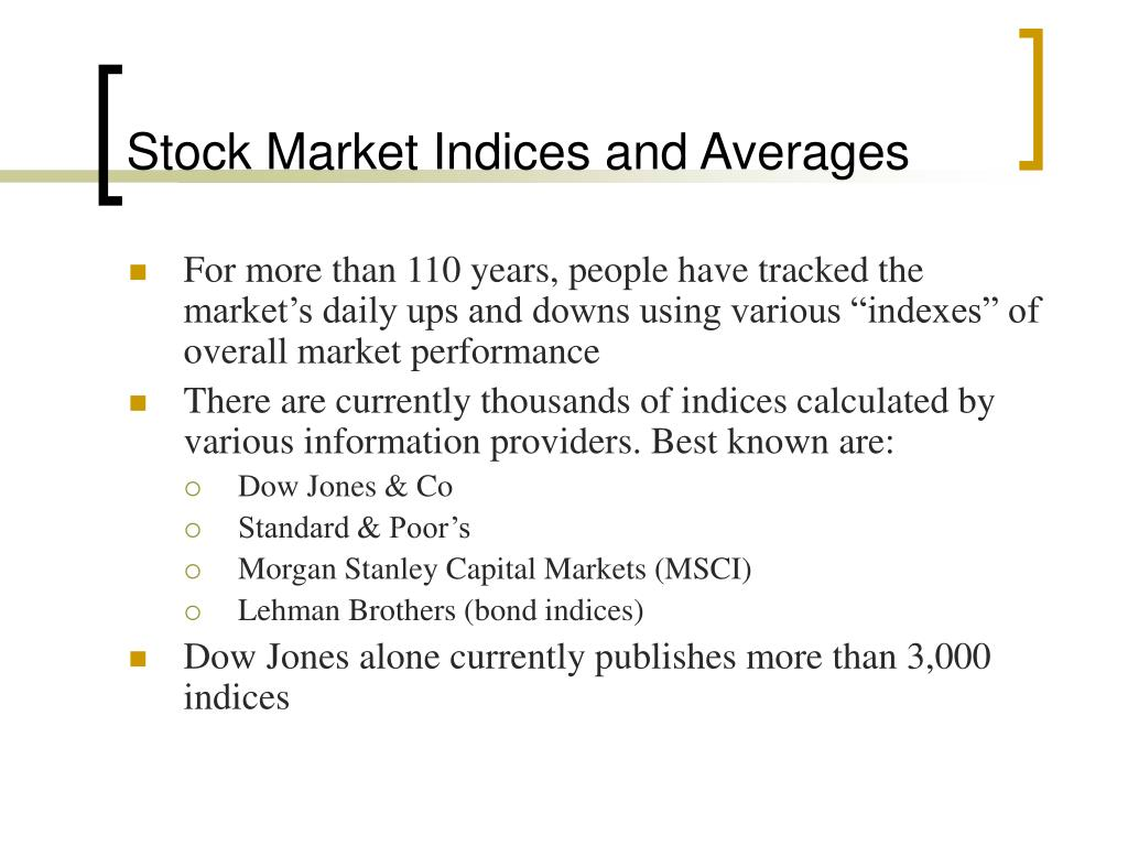 Stock Market Indices and Averages