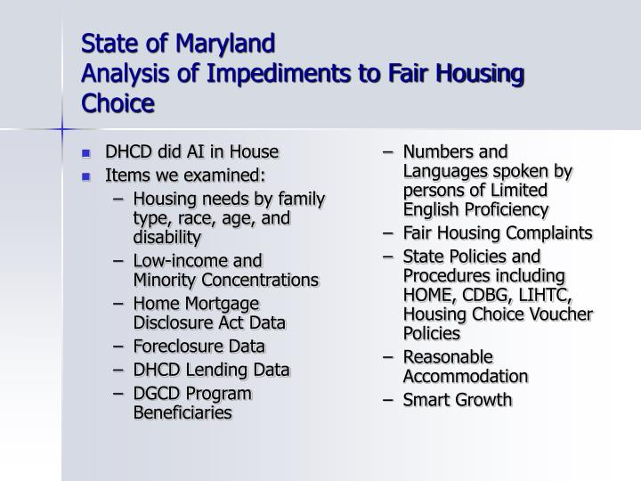 State of maryland analysis of impediments to fair housing choice2