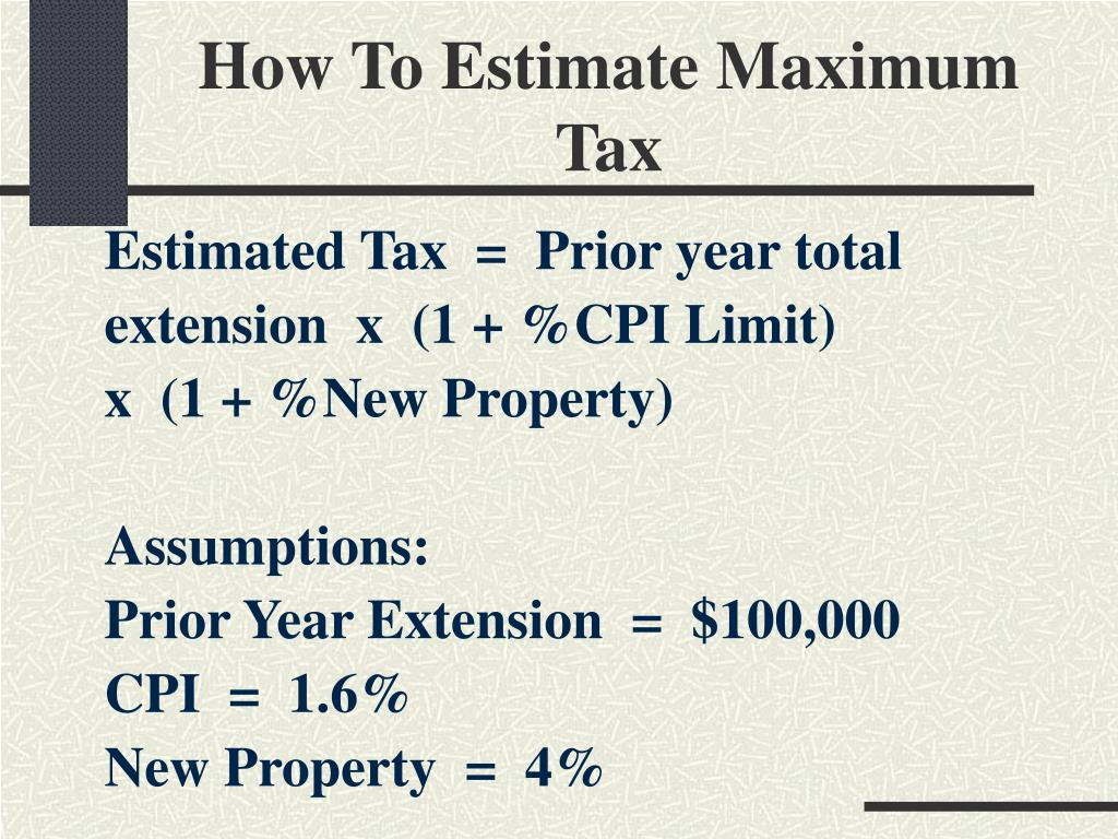 How To Estimate Maximum Tax