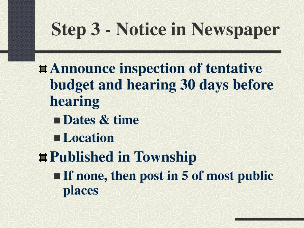 Step 3 - Notice in Newspaper