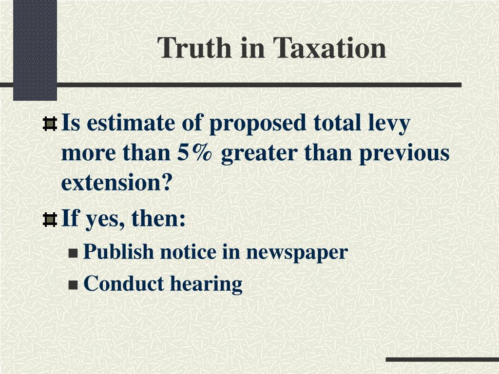 Truth in Taxation