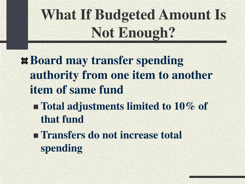 What If Budgeted Amount Is Not Enough?