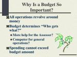 why is a budget so important