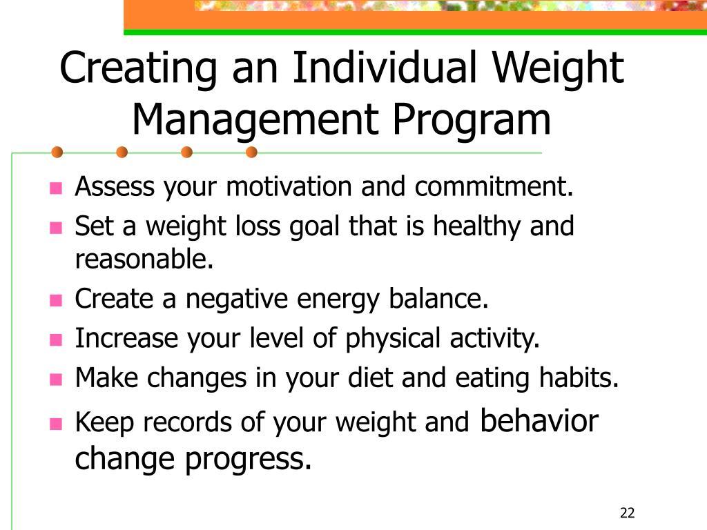 Creating an Individual Weight Management Program