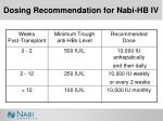 dosing recommendation for nabi hb iv