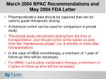 march 2004 bpac recommendations and may 2004 fda letter17
