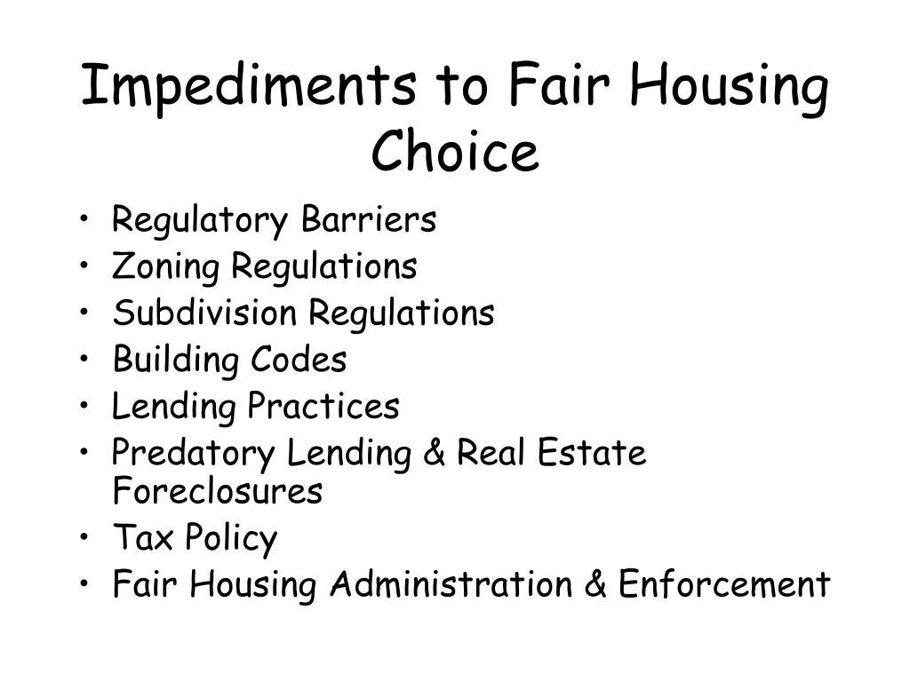 Impediments to Fair Housing Choice
