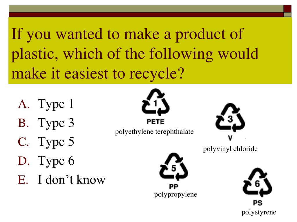 If you wanted to make a product of plastic, which of the following would make it easiest to recycle?