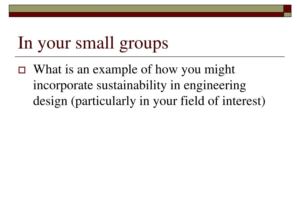 In your small groups