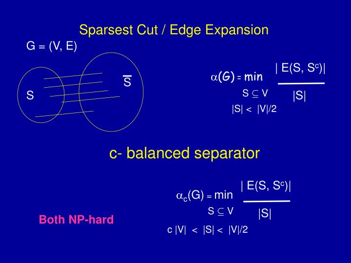 Sparsest cut edge expansion