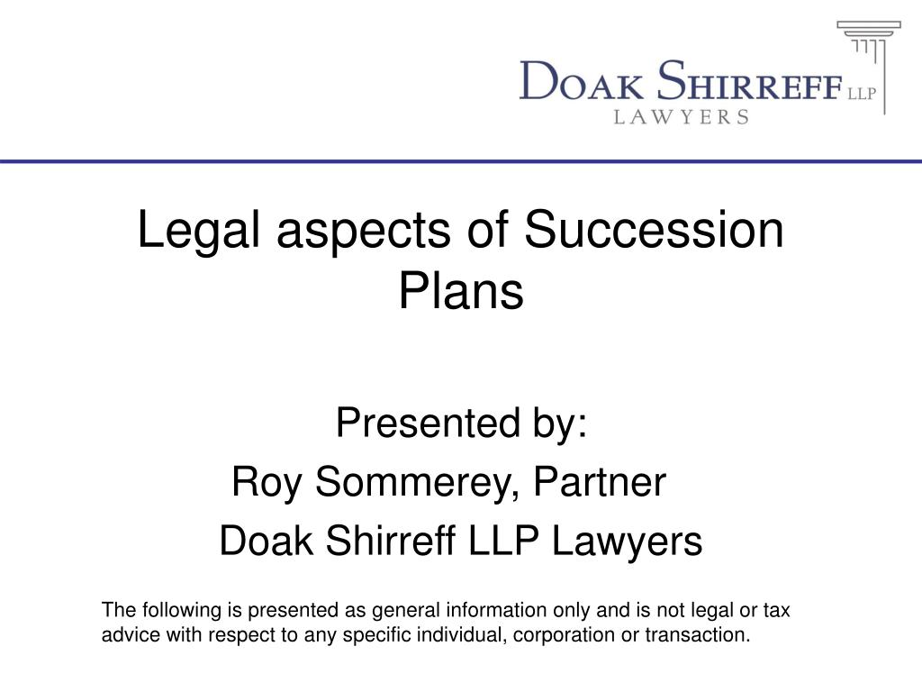 legal aspects of succession plans l.