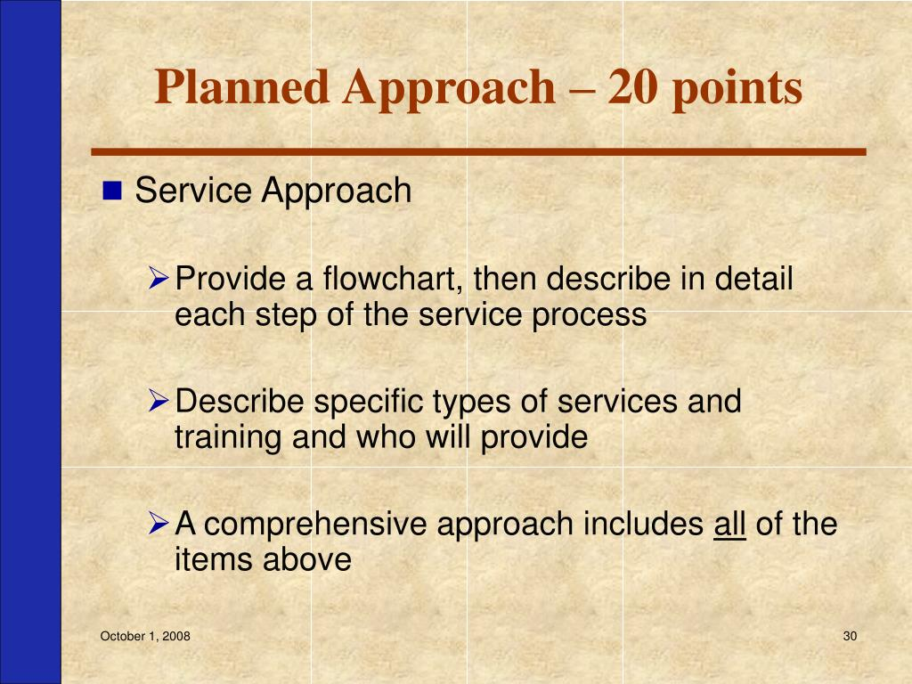 Planned Approach – 20 points