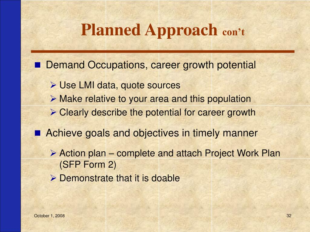Planned Approach