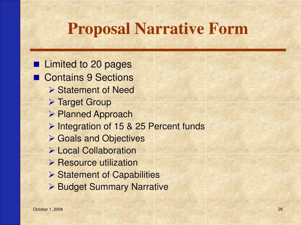 Proposal Narrative Form