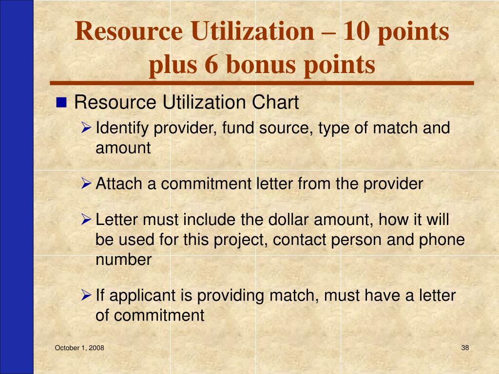 Resource Utilization – 10 points plus 6 bonus points