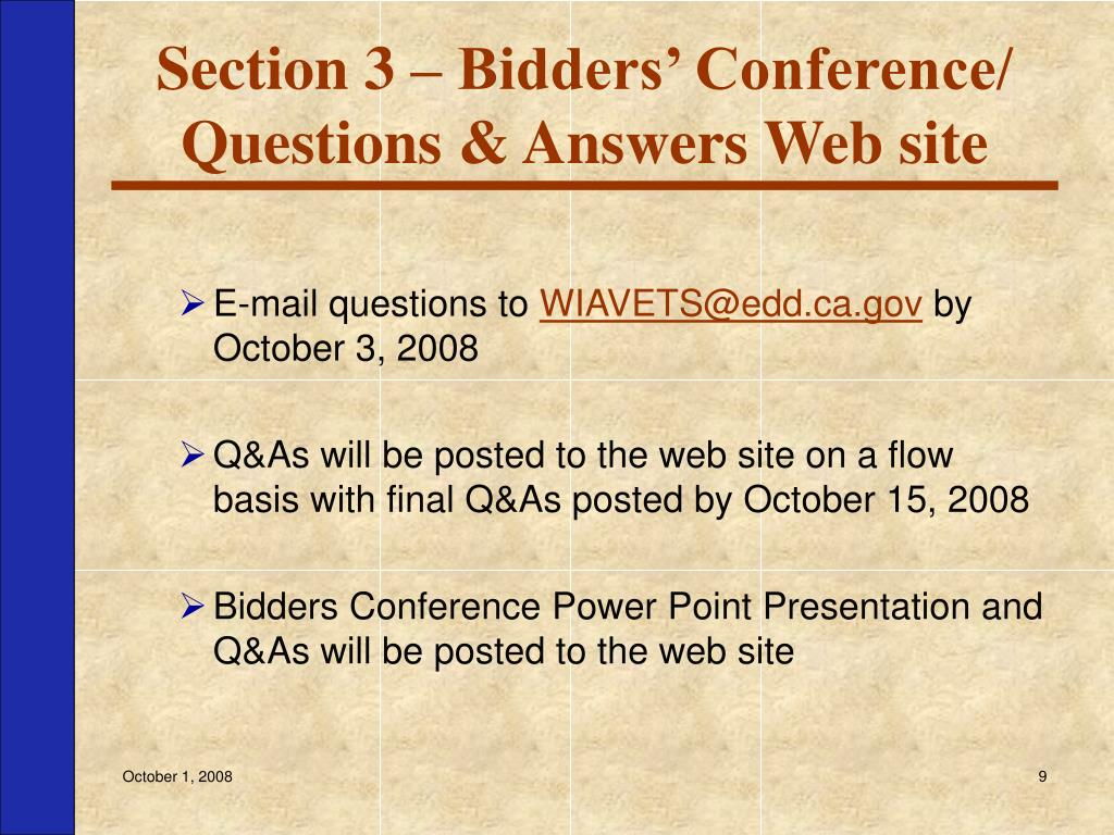 Section 3 – Bidders' Conference/ Questions & Answers Web site