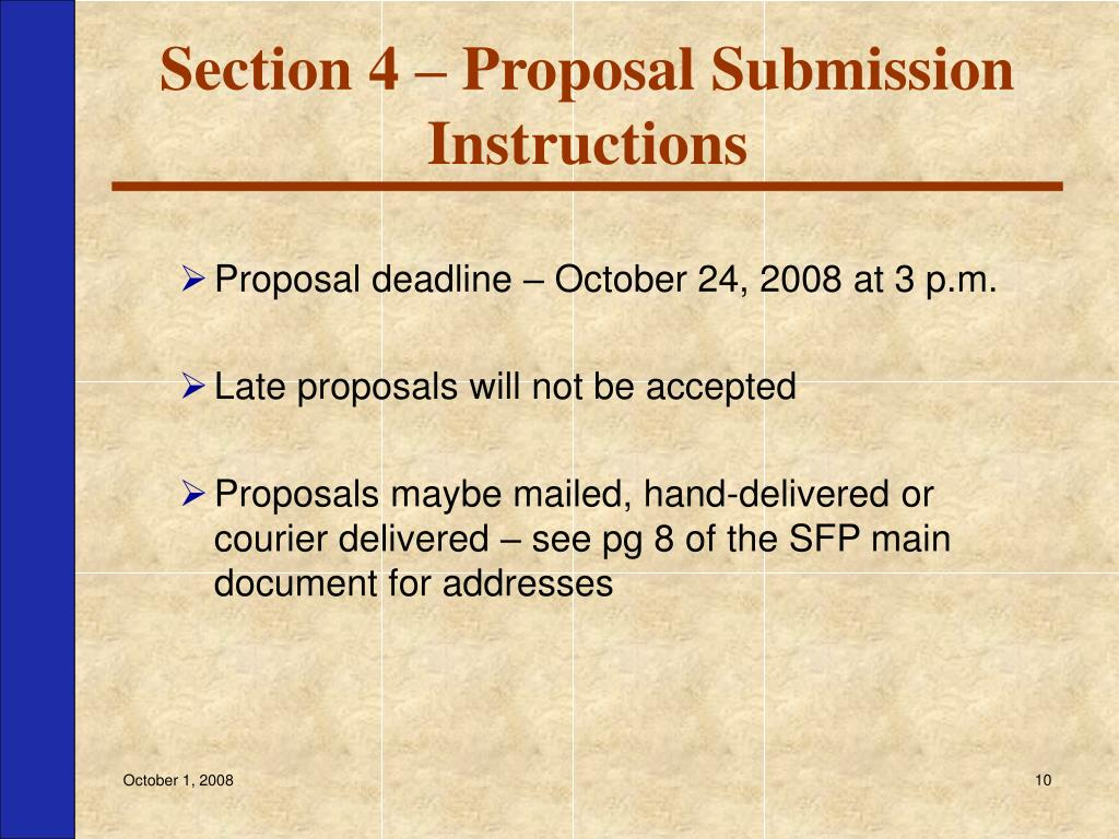 Section 4 – Proposal Submission Instructions