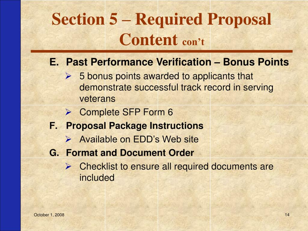 Section 5 – Required Proposal Content