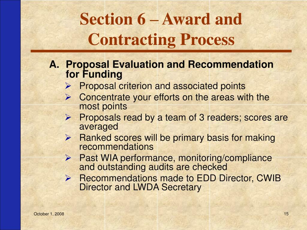 Section 6 – Award and Contracting Process