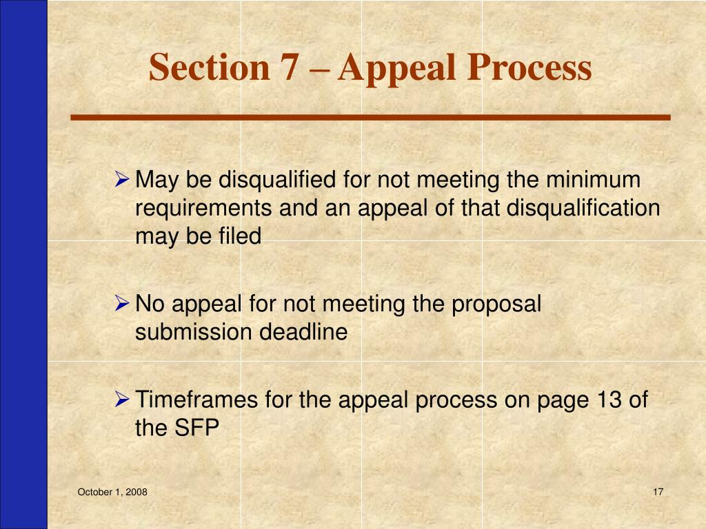 Section 7 – Appeal Process