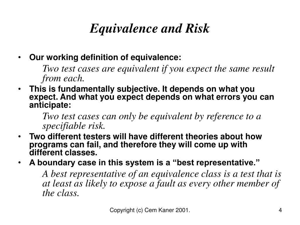 Equivalence and Risk