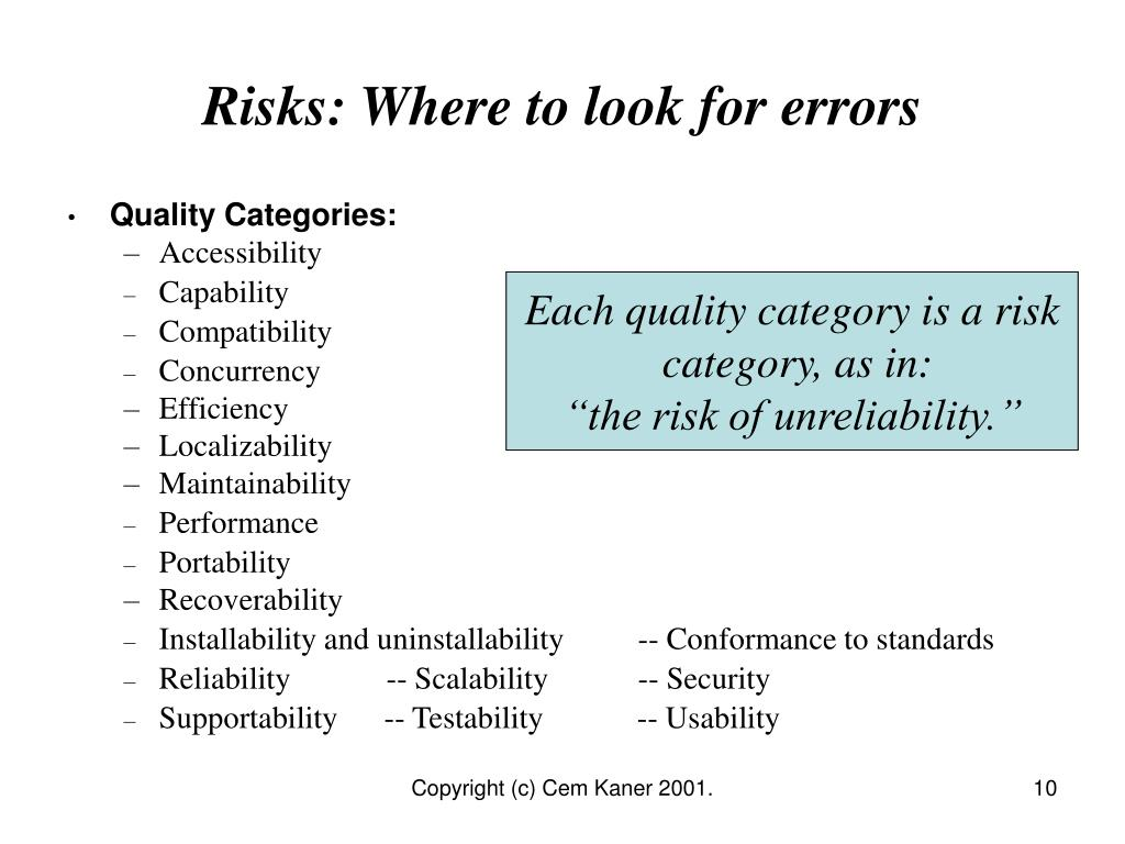 Risks: Where to look for errors