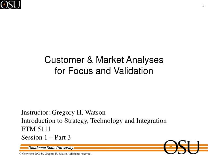 customer market analyses for focus and validation n.