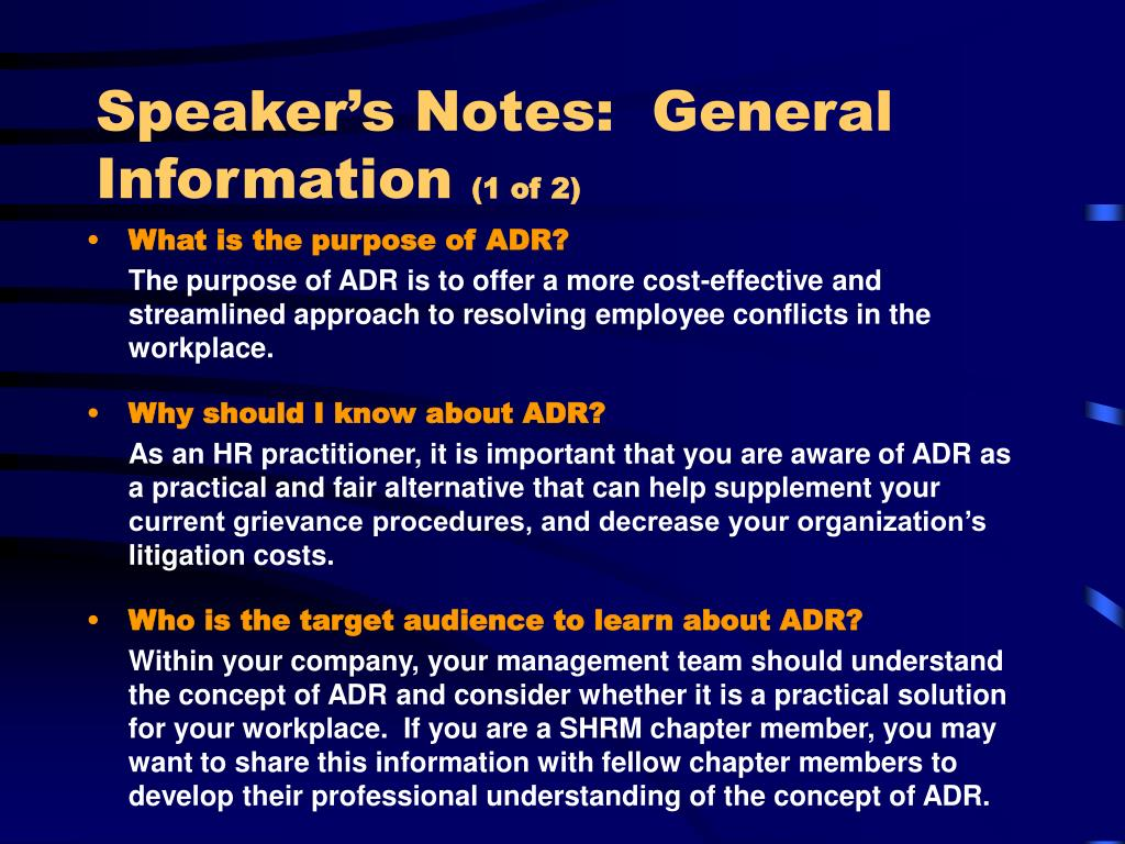 Speaker's Notes:  General Information