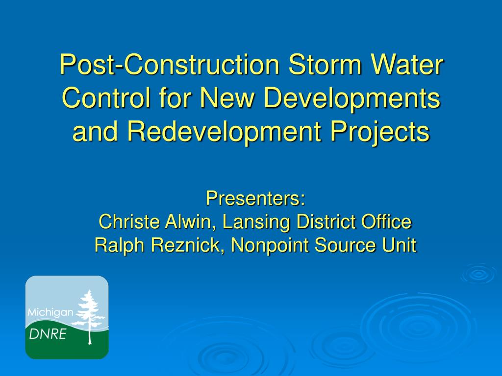 post construction storm water control for new developments and redevelopment projects l.