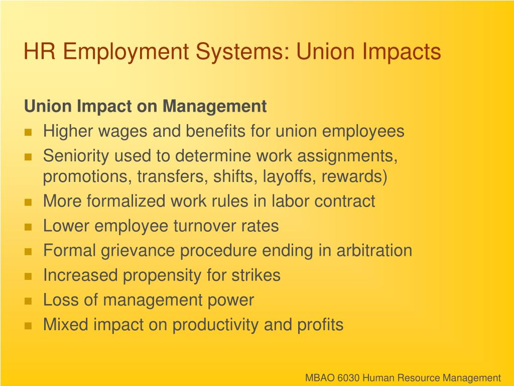 HR Employment Systems: Union Impacts