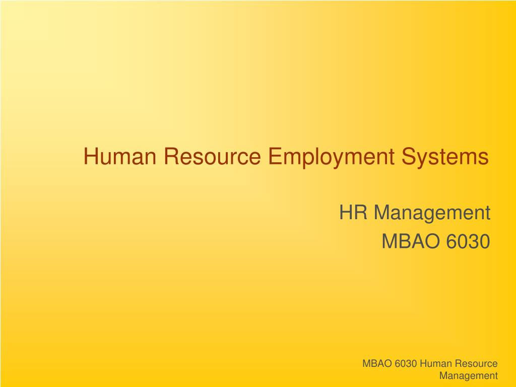 Human Resource Employment Systems