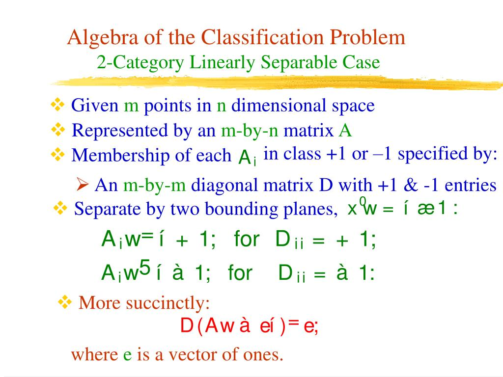 in class +1 or –1 specified by: