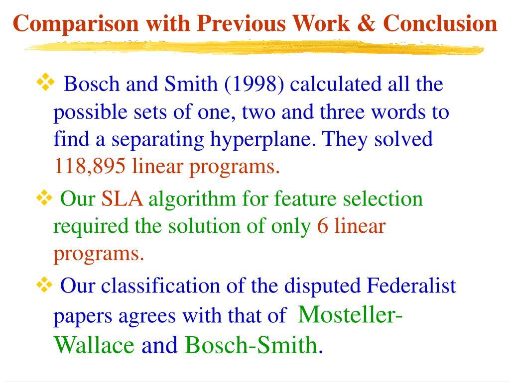 Comparison with Previous Work & Conclusion