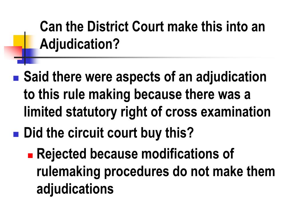 Can the District Court make this into an Adjudication?