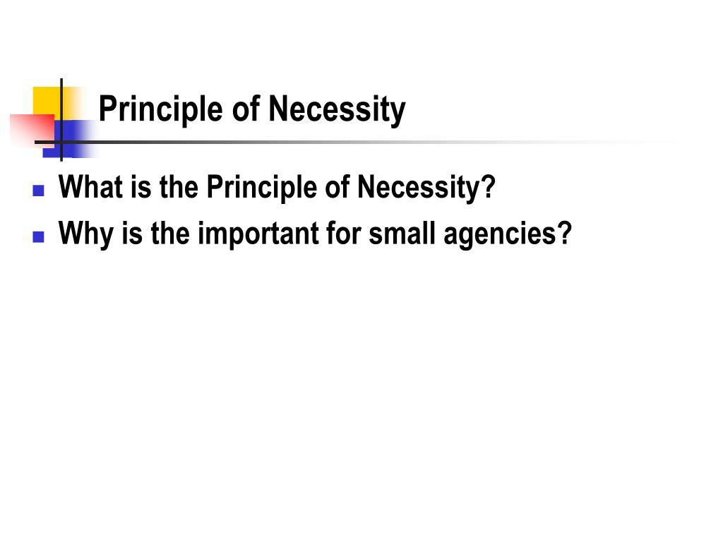 Principle of Necessity