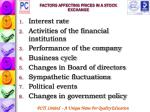 factors affecting prices in a stock exchange