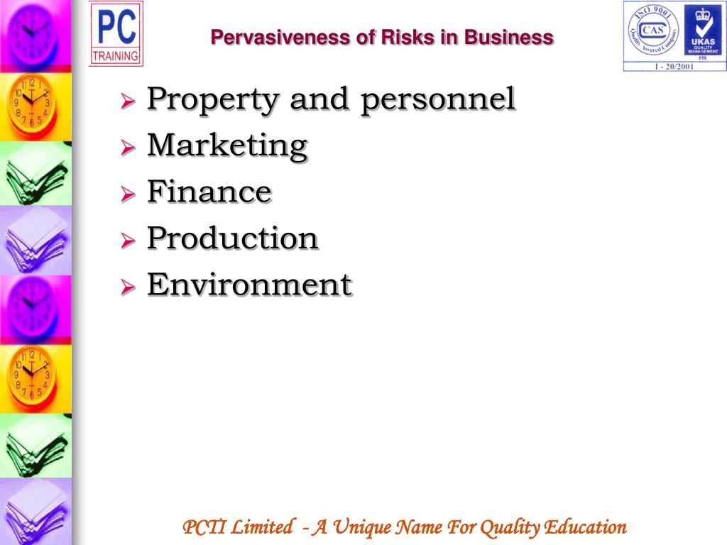 Pervasiveness of Risks in Business