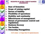 requisites of an ideal form of business organisation