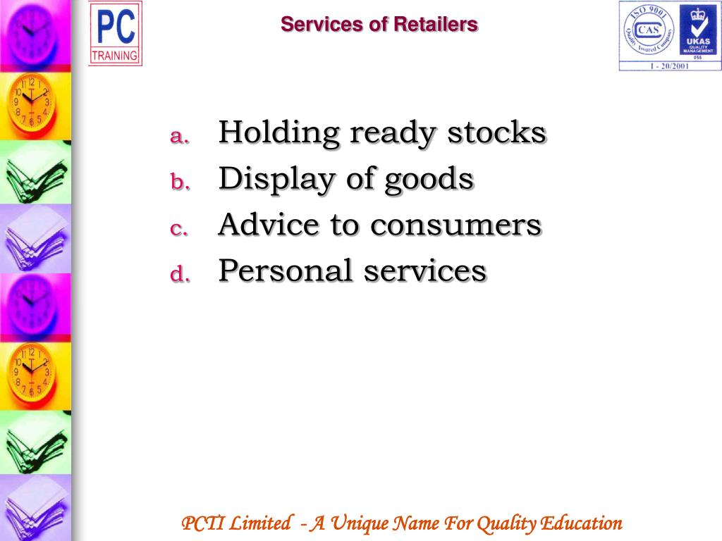 Services of Retailers