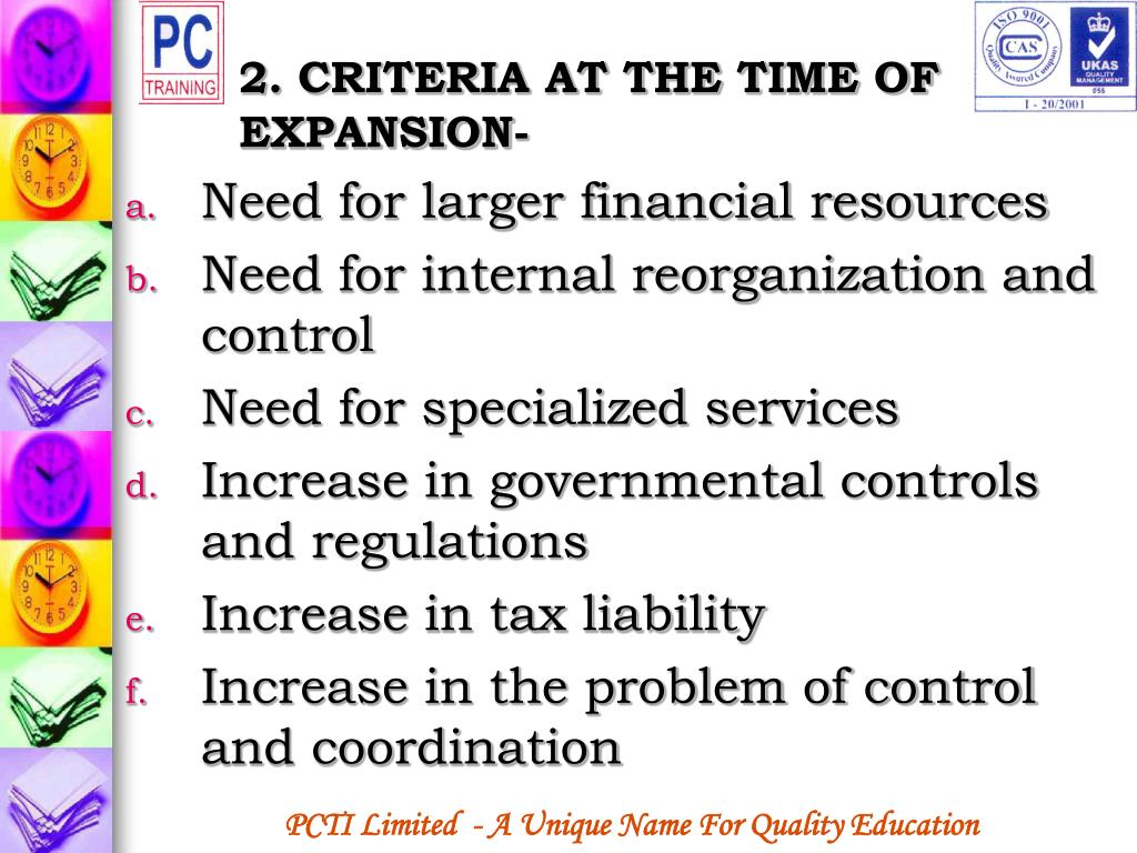 2. CRITERIA AT THE TIME OF EXPANSION-