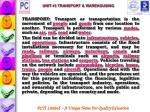 unit 15 transport warehousing