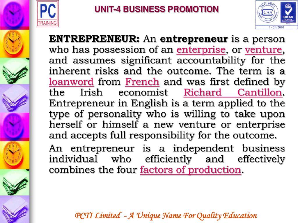 UNIT-4 BUSINESS PROMOTION