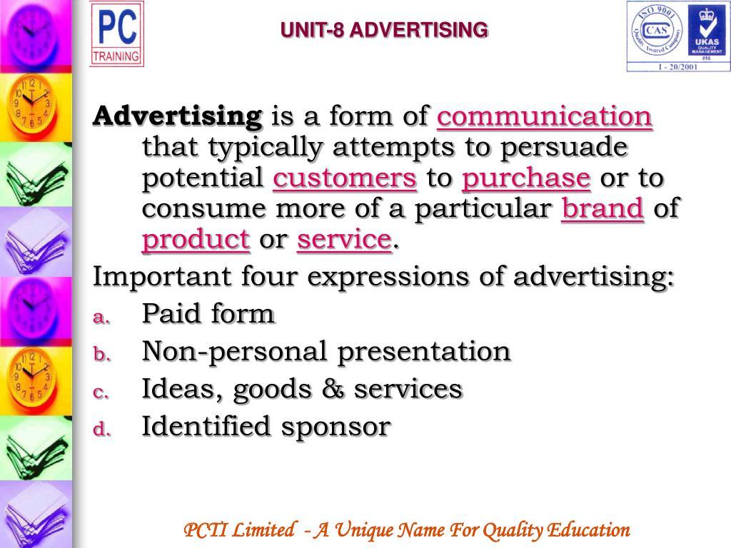 UNIT-8 ADVERTISING