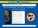 leo club resources on lions website