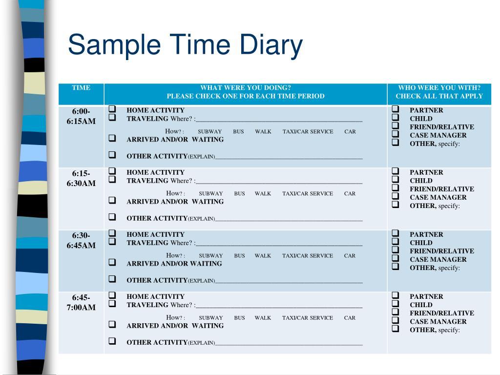 Sample Time Diary