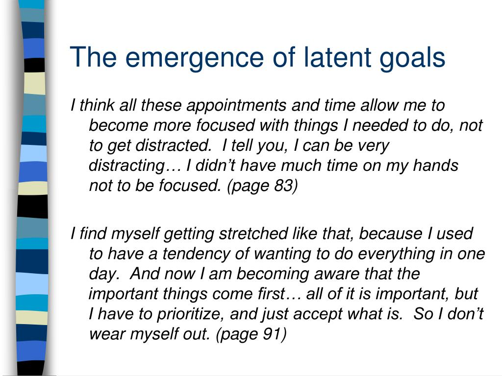 The emergence of latent goals