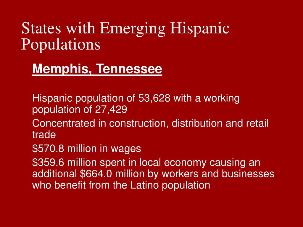 States with Emerging Hispanic Populations